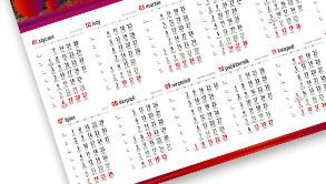 Kalendarze plakatowe listwowane