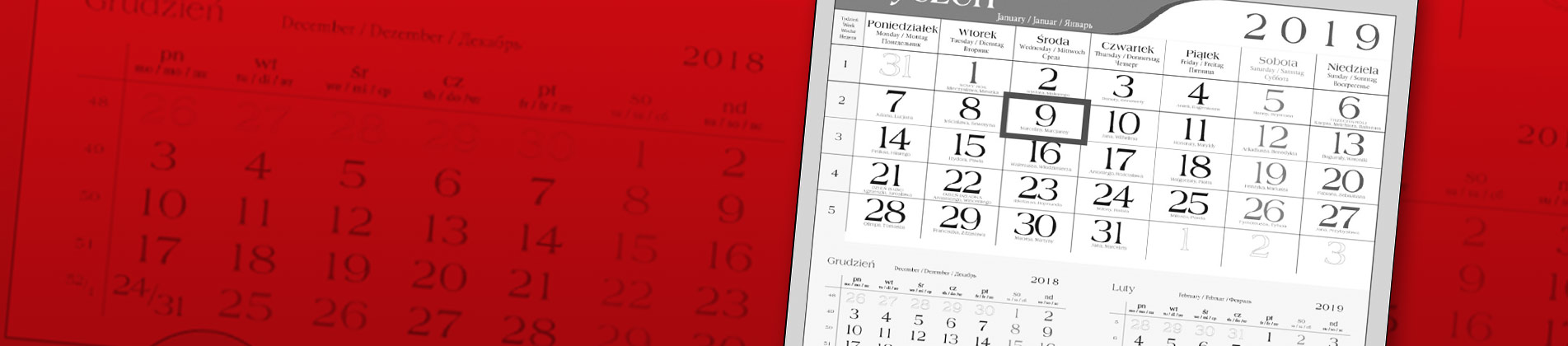 Indywidualne kalendarze jednodzielne