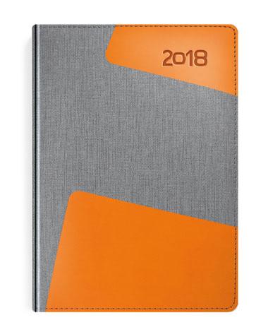 Kalendarz książkowy Bi kolor szary-pomarańcz