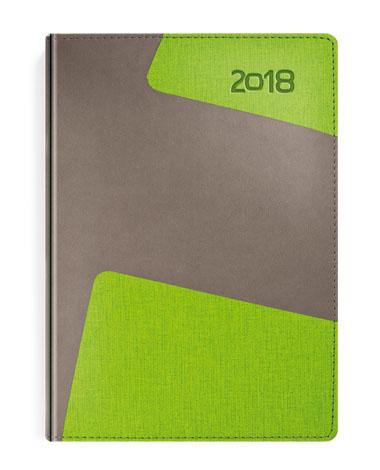 Kalendarz książkowy Bi kolor szary-zielony