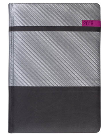 Kalendarz książkowy Karbon srebrny / czarny / różowy