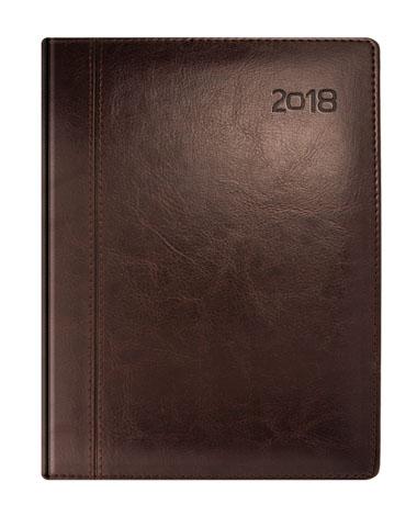 Kalendarz książkowy brązowy z przeszyciem