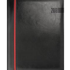 Kalendarz książkowy czarny z czerwonym paskiem