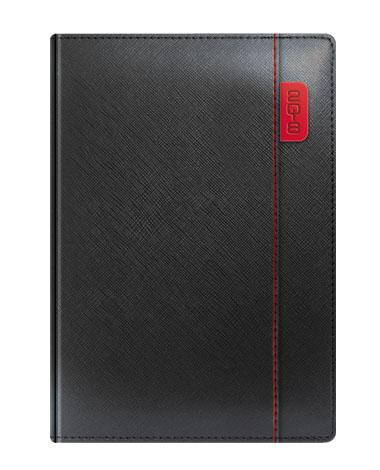 Kalendarz książkowy czarny z czerwonymi wstawkami