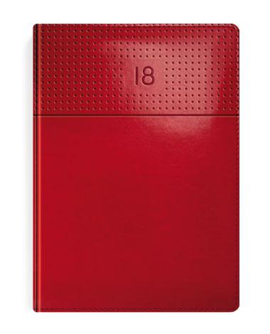 Kalendarz książkowy czerwony z przetłoczeniem