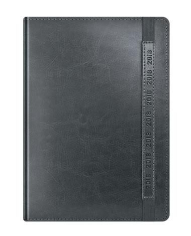 Kalendarz książkowy szary z gumką