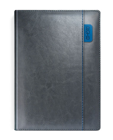 Kalendarz książkowy szary z niebieskimi elementami