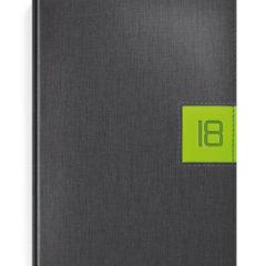 Kalendarz książkowy w oprawi egrafitowej z zielonym