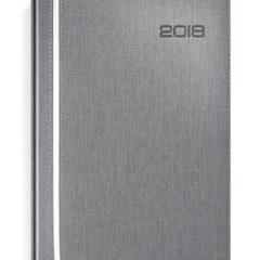 Kalendarz książkowy w popielatej oprawie z białą wstawką