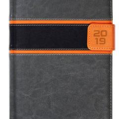 Kalendarz książkowy z zapięciem na magnes szary / pomarańczowy / czarny