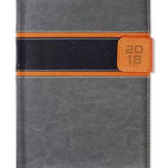 Kalendarz książkowy z zapięciem na magnes - szary/czarny/pomarańczowy
