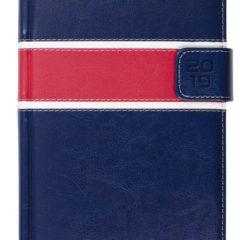 Kalendarz książkowy z zapięciem na magnes granatowy / biały / czerwony