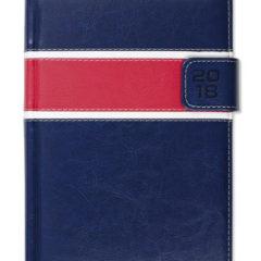 Kalendarz książkowy z zapięciem na magnes - granat/biały/czerwony