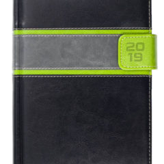Kalendarz książkowy z zapięciem na magnes czarny / jasnozielony / szary