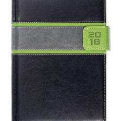 Kalendarz książkowy z zapięciem na magnes - czarny/zielony/szary