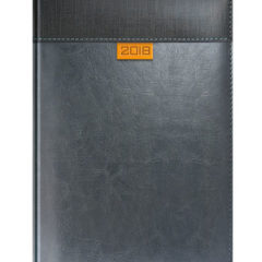 Kalendarz ksiazkowy w oprawie szarej z pomarańczowym