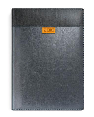 Kalendarz w szarej oprawie z pomarańczową wstawką