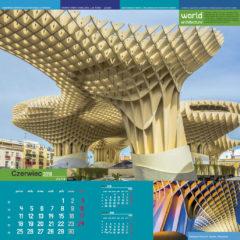 Kalendarz wieloplanszowy World architecture - przykładowa strona