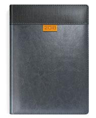 Kalendarze książkow w oprawie szarej z pomarańczowym