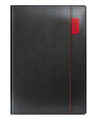 Kalendarze książkowe czarny z przeszyciem czerwonym