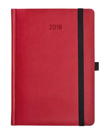 Kalendarz książkowy Zig-zag czerwono-szary