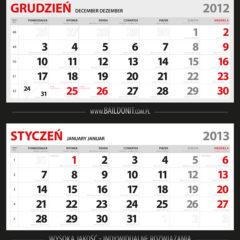 Kalendarze trójdzielne - projekt indywidualny