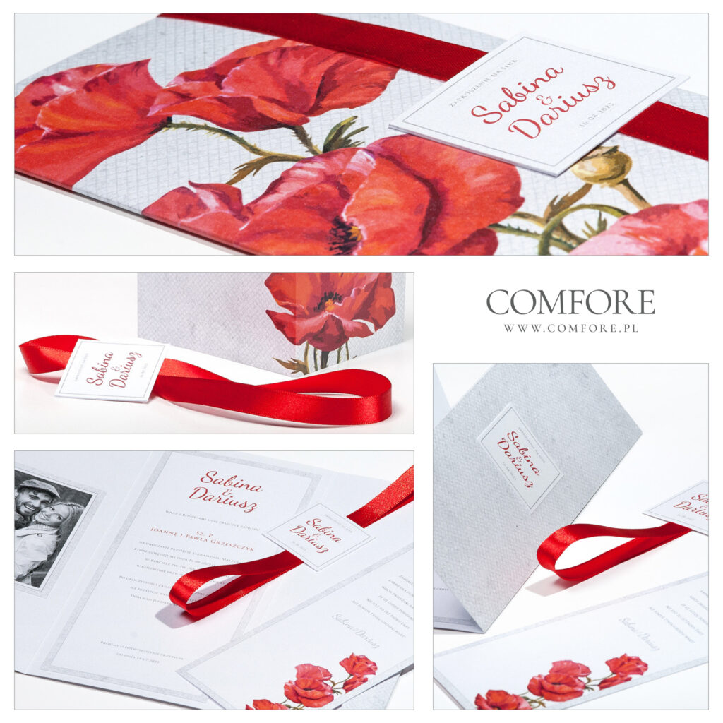 Zaproszenia Ślubne - Romantyczne Maki - COMFORE