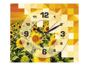 kalendarz jednodzielny z zegarem Słoneczniki