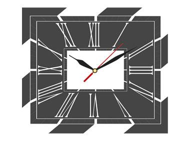 kalendarz trójdzielny VIP z zegarem - grafitowy
