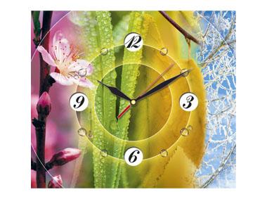 kalendarz trójdzielny z zegarem Cztery pory roku