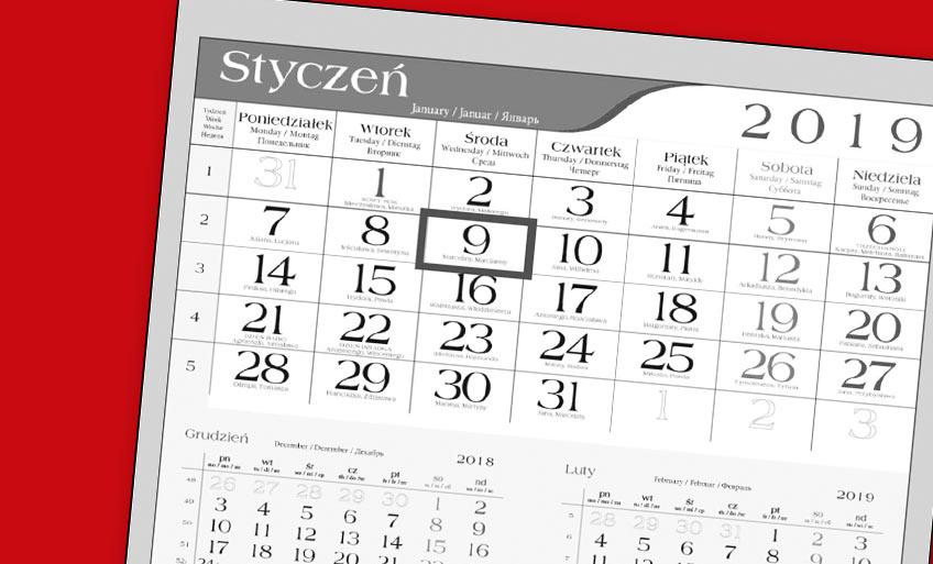 Kalendarze jednodzielne 2019
