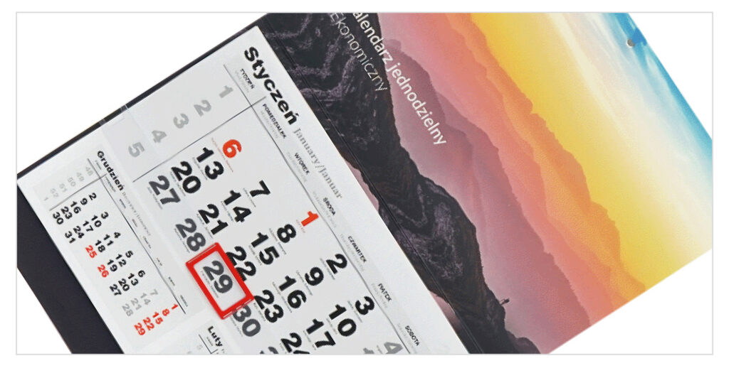 kalendarze jednodzielne - ekonomiczne