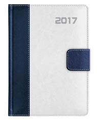 kalendarz książkowy z zapięciem na magnes standard - oprawa granatowo-biała