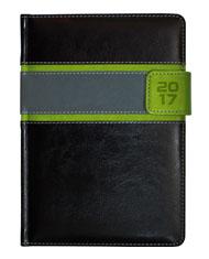 kalendarz książkowy firmowy z zapięciem na magnes - czarna oprawa z zielonymi wstawkami