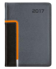 kalendarz ksiazkowy w oprawie łączonej szarej