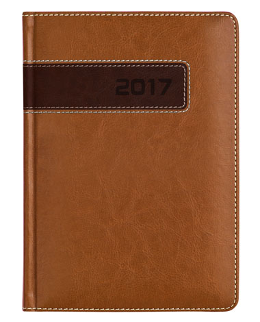 kalendarze ksiażkowe dla firm - oprawa łączona brązowa