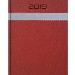 Kalendarz ksiązkowy z szerokim paskiem - bordo z szarym