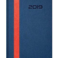 Kalendarz ksiązkowy z szerokim paskiem - granat z czerwonym