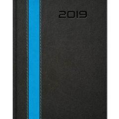 Kalendarz ksiązkowy z szerokim paskiem - czarny z niebieskim