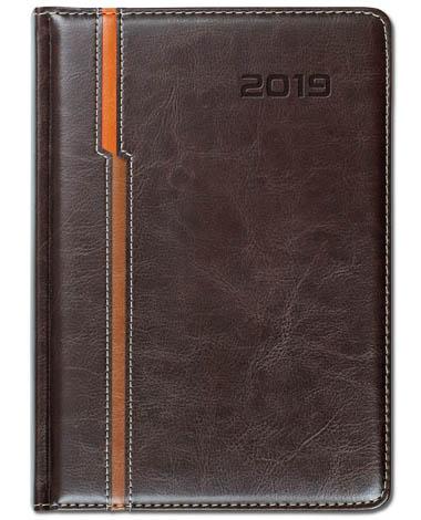 Kalendarz książkowy Combo Double brązowy/pomarańczowy/jasnobrązowy