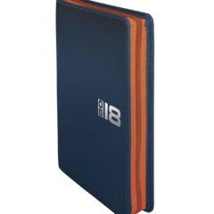 Kalendarz książkowy Zipo granatowy z pomarańczowymzamkiem