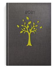 Kalendarze książkow w oprawie szarej z zielonym drzewem