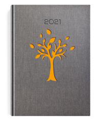 Kalendarze książkow w oprawie szarej z pomarańczowym drzewem