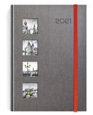 Kalendarze książkowe szare z gumką