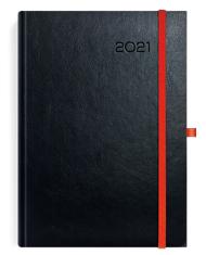 Kalendarze książkowe czarne z czerwoną gumką
