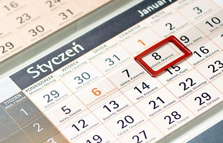 Kalendarze trójdzielne - indywidualny projekt - kalendarium