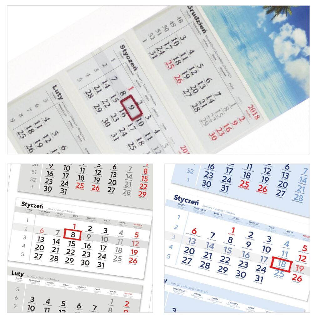 kalendarze trojdzielne - biale plecy
