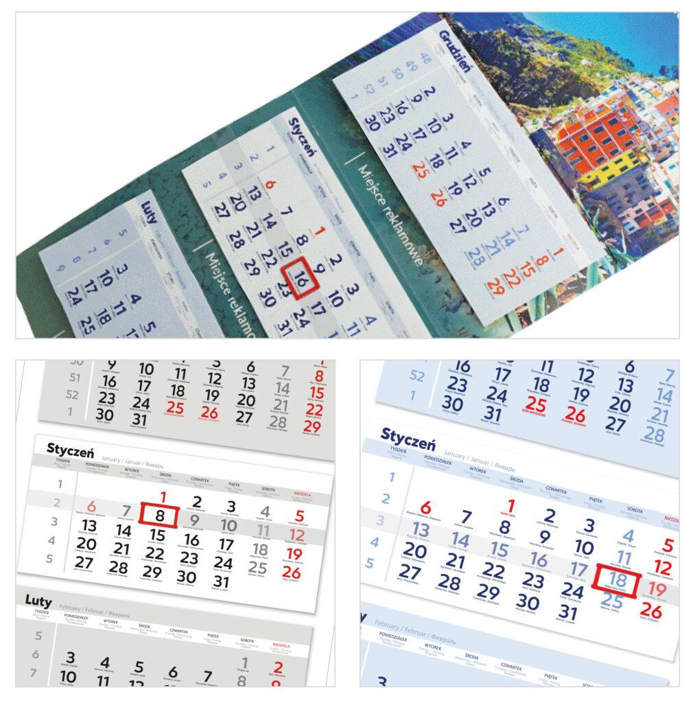 kalendarze trójdzielne - duże z główką