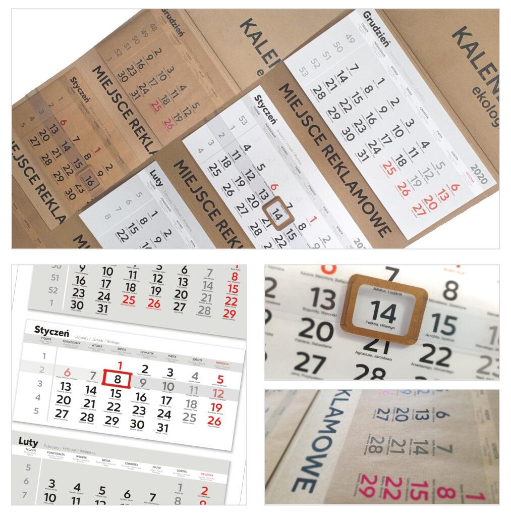 kalendarze trójdzielne - ekologiczne